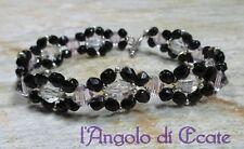 Idea regalo BRACCIALE BRACCIALETTO donna artigianale cristalli Swarovski nero