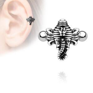 "16g 5/16"" Brass Elephant Ear Cartilage Helix Cuff 316L Bar 4MM Balls Silver Look"