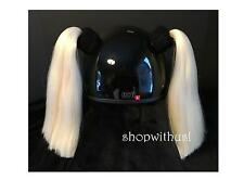 White Helmet Pigtails ~ Motorcycle Skateboarding ATV Biking ~ Pig Tail Ponytail