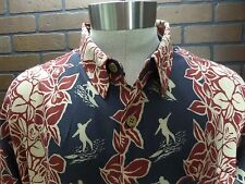 Men's M.E. Sport 100% Rayon Navy Blue & Red Floral Coconut style button size XXL
