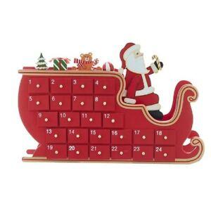 Santa Claus and Sleigh Wooden Advent Calendar 14 Inch D4059