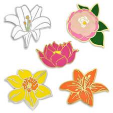 PinMart's Peony Lotus Lily Daffodil Flower Trendy Cute Enamel Lapel Pin Set