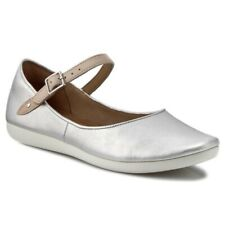 Clarks Ladies Flat Shoes FEATURE FILM Silver Leather UK 6 / 39.5