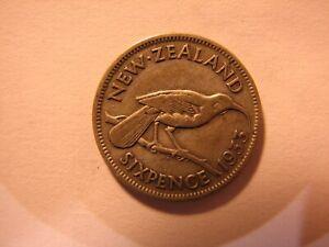 1933 New Zealand Sixpence.