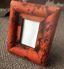 Cowhide Photo Frame - Handmade - Orange & Black - Home decor