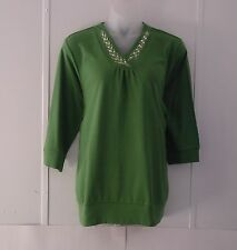 Bob Mackie Embroidered Laurel Leaf Blouson Top Size S Green