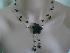 Collier Original Noir/Argenté p robe de Mariée/Mariage/Soirée Fleur/Perles nacré