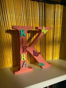 """Personalised hand decorated wooden letter/name """"Kiera"""""""
