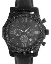 TECHNO COM KC CHRONOGRAPH DATE MEN WATCH 3.00CTW BLACK ROUND LARGE DIAMONDS. NEW