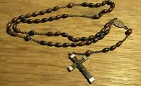 Vintage/Antique Wood Rosary Beads and Wood/Metal Cross Made In France