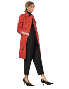 NEW KAREN MILLEN Double-Breasted With Tie Belt - Red And Camel Warm Trench Coat