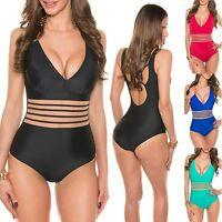 Women's Sheer Stripe One Piece Swimwear Swimsuit Bathing Suit - XS/S