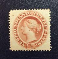 Stamps Newfoundland SC28a 12c red brown QV Broken Frame Line.See description.