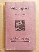 Suite Anglaise par Julien Green numerote Les Cahiers de Paris 1927