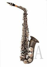 100% New Professional Eb Matt Black Surface Silver Key High F# Alto Saxophone
