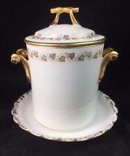 CH FIELD HAVILAND GDA LIMOGES Jam / Condensed Milk Jar White with Gold Trim
