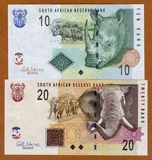 South Africa, Set, 10;20 (2005) 2009, P-128b-129b UNC Rhino, Elephant