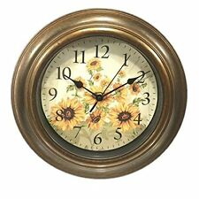 Zeckos Sunflowers Wall Clock Analog Plastic & Wood Motif Bronze Multi-Color