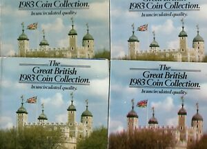UK 1983 Royal Mint Uncirculated 7 Coin Collection, In Four Martini Packs.