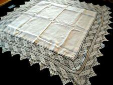 "Wonderful Mary Card? Design Vintage White Filet Hand Crochet Tablecloth 48""Sq"