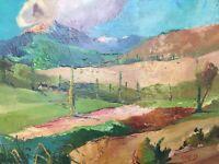 Belle Peinture Paysage 1950 Huile Sur Panneau Hsp Signé Adreys