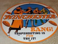 "VINTAGE 1937 WINCHESTER TRAP SHOOTING ISFUN 11 3/4"" PORCELAIN METAL GAS OIL SIGN"