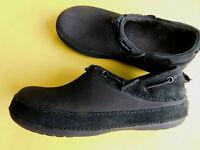 Crocs Surrey Clogs Black Suede Leather Waterproof Croslite Women's Size 5.5