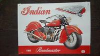 INDIAN The Roadmaster Placa metalica litografiada publicidad 42 x 30 cm. replica