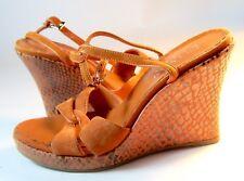 New listing Franco Sarto Orange Hi Wedge Sandal w/ Ankle Strap Suede Reptile 5.5 / 6