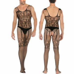 Men Sexy Lingerie Sissy Mesh Bodystocking Bodysuit Underwear Nightwear Sleepwear