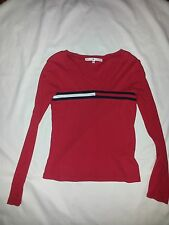 Tommy hilfiger big logo blouse women's size s/p made in canada