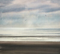 Light over the tide Lytham St Annes Beach Original Seascape Watercolour Painting