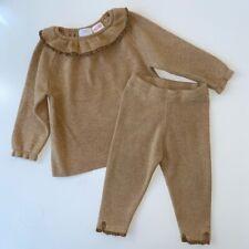 Zara Baby Girls 18-24 Months Tan Beige Ruffle Knit Co Ord Set Jumper Leggings