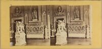 Italia Interno Palais Museo Sculture c1860 Foto Stereo Vintage Albumina