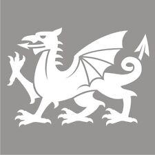 Welsh Cymru Dragon Car Van Bumper Wall Fridge Vinyl Decal Souvenir Sticker White
