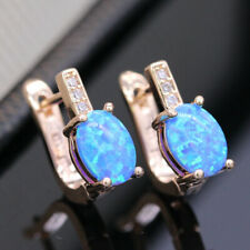 Yellow Gold Filled Blue Fire Oval Opal & Simulated Diamond Leaverback Earrings