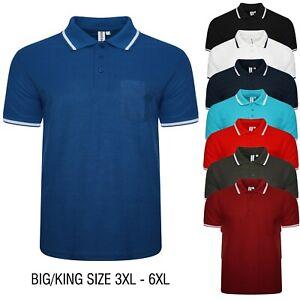 Mens Polo Shirt Big King Size Short Sleeve Pocket Tipping Collar Tshirt 3XL- 6XL