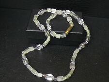 "(dB407) Gemstone: Natural Quartz & Amethyst necklace hand carved beads 18"""