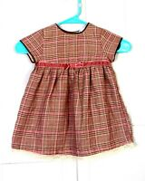 vtg 70s 80s kids Brown Pink Rayon Blend Flannel Dress Baby Toddler 24 Mos.