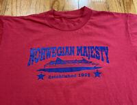 Vintage Single Stitch Norwegian Majesty Red 90's T Shirt Used Men's Size Large
