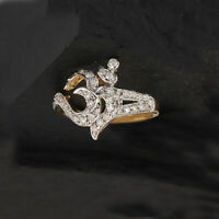 Religious Om Shaped Diamond Cocktail Ring Solid Pave 14K Yellow Gold Jewelry New
