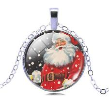 Vintage Style Red Green Santa Claus Christmas Gift Party Pendant Necklace N476