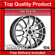 "VW T5 5x120 TRANSPORTER WOLFRACE MUNICH BLACK POLISH LOAD RATED 18"" ALLOY WHEELS"