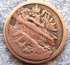 MINT ERROR - GERMANY KAISERREICH EMPIRE 1874 2 PFENNING - STUCK DIE or BROCKAGE