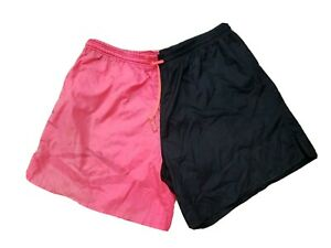Vintage 90s UMBRO Soccer Shorts Futbol Football Colorblock Men's XL Pink Black