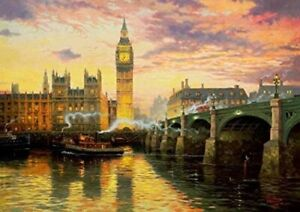 Gibsons Thomas Kinkade LONDON Jigsaw ,1000 Pc Big Ben Parliament, NEW SEALED