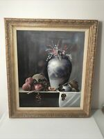 Mario Champi Painting Still Life, Vase with Flowers Signed M. Champi Framed