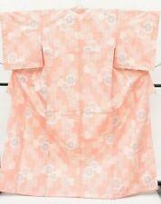 Vintage Japanese Pink/Cream 'Floral Squares' Silk Tsumugi Kimono/Robe M/L