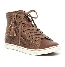 UGG Girl BLANEY SEAWEED Perforated Chestnut Brown Leather Sneaker Shoes 5.5 NWT