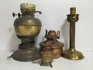Brass Copper  Oil Lamps And More For Parts Or Restoration